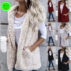 Newest Womens Thic Faux Fur Hooded Jackets Casual Coat Sleeveless Slim ladies Outwear white s