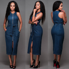 Women Denim Dress Fashion Front Zipper Slim Hip Skinny Dress Women's Sexy Front Split Jeans Dress Dark blue s