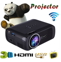Mini WIFI 1080P 3D HD LED Portable Projector Theater Home Cinema black one size Black One Size