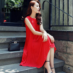 Chiffon Maternity Long Dress Tank Vest Clothes for Pregnant Women Pregnancy Clothing Vestidos red 2xl