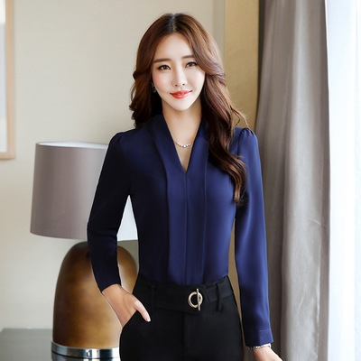 9e37050925791 fashion Sexy V-Neck shirt women OL Career temperament formal long sleeve  chiffon blouse dark blue