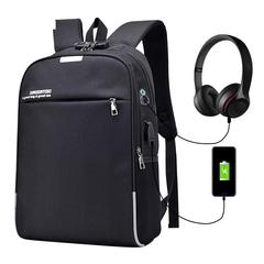 Luminous Anti Theft Password Locks Bag Men Bag USB Charging Backpack Business Travel Backpack Bags black 0ne