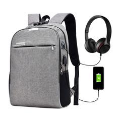 Luminous Anti Theft Password Locks Bag Men Bag USB Charging Backpack Business Travel Backpack Bags gray 0ne