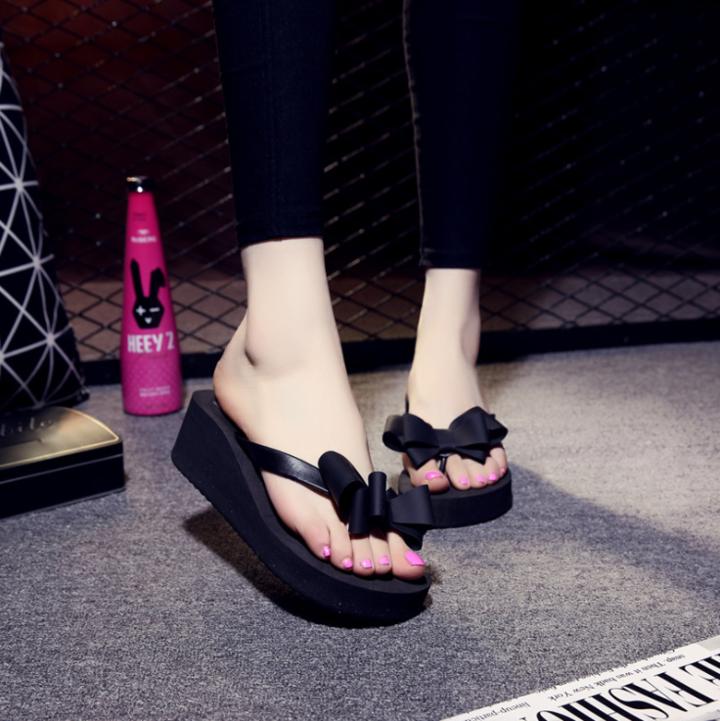 61e4364f1bfed High Heels Women Flip Flops Platform Wedges Slippers EVA Bow Fashion Beach  Shoes Woman black 36
