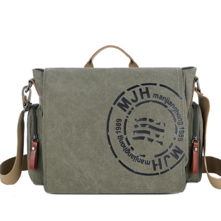 ad2ee6dfcafa Retro Men s Crossbody Canvas Shoulder Bag Print Travel Tote Army Green 39cm  by 14cm by 28cm