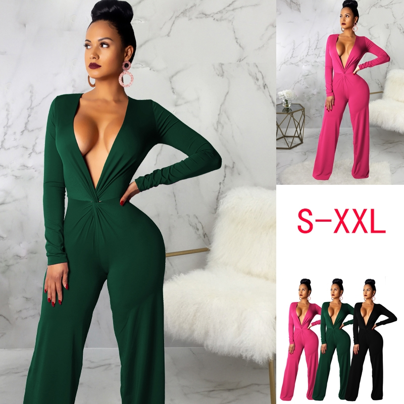 77731d09996 2019 hot fashion comfortable casual long-sleeved v-neck jumpsuit rose red  m  Product No  10259910. Item specifics  Brand