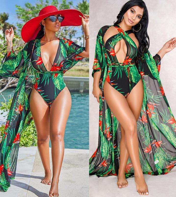 a810eff7e0261 2 pieces swimsuit women summer beach monokini swimwear ladies cover up bikini  set Red s