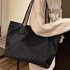 Real big bag Fashion Printed Oxford Large Capacity Shoulder Tote Bag black 36cm by 15cm by 28cm