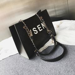 2019 New Linger Chain Bag Large Capacity Hand-held Slant Bag black 26cm by 11cm by 21cm