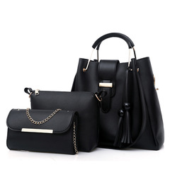 LARAINE 3Pcs/Sets Women Handbags Leather Shoulder Bags black 33cm by 30cm 14cm
