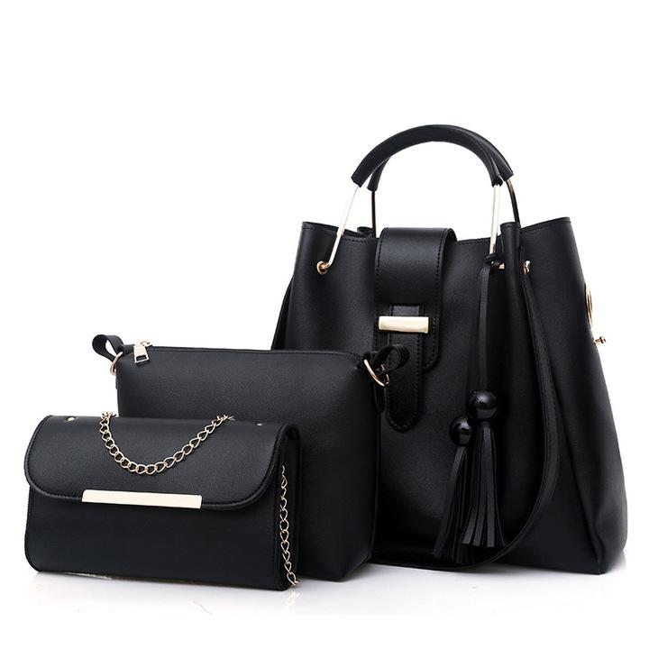 LARAINE 3Pcs/Sets Women Handbags Leather Shoulder Bags black 33cm by 30cm 14cm