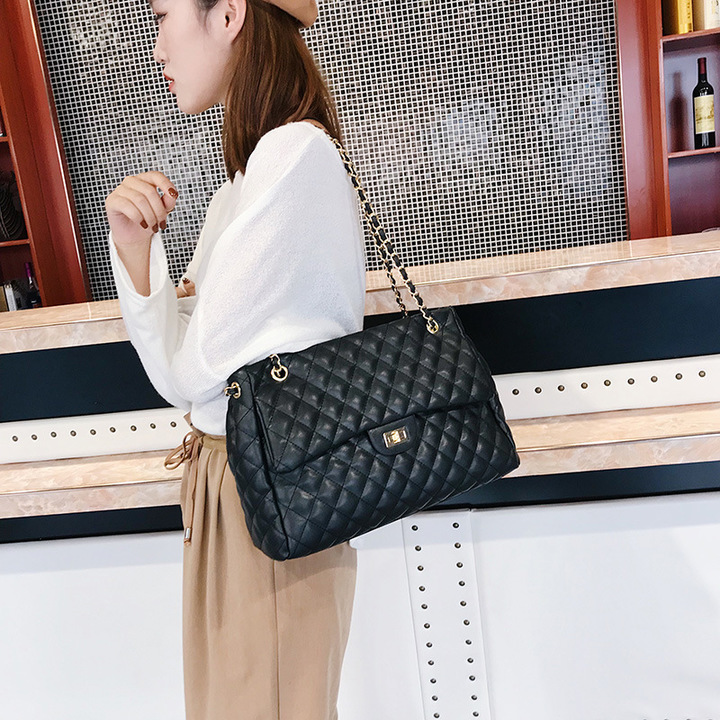 New style Big PU Leather Rhombus Pattern Lady's Single Shoulder Bag black 32cm by 12cm by 23cm