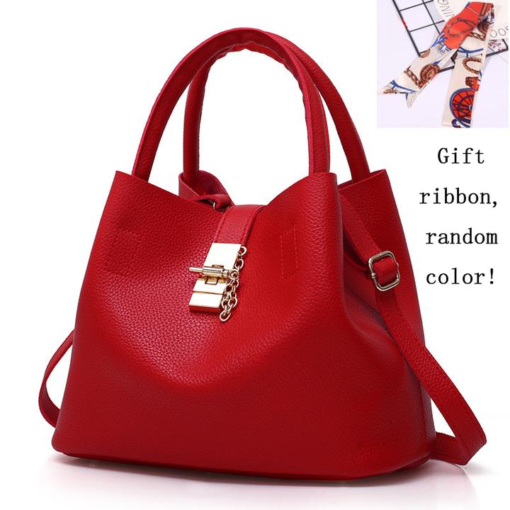 (FBK)Fashion Handbags for Ladies PU Leather High Quality Handbags for Women red 29cm by 13cm by 23cm