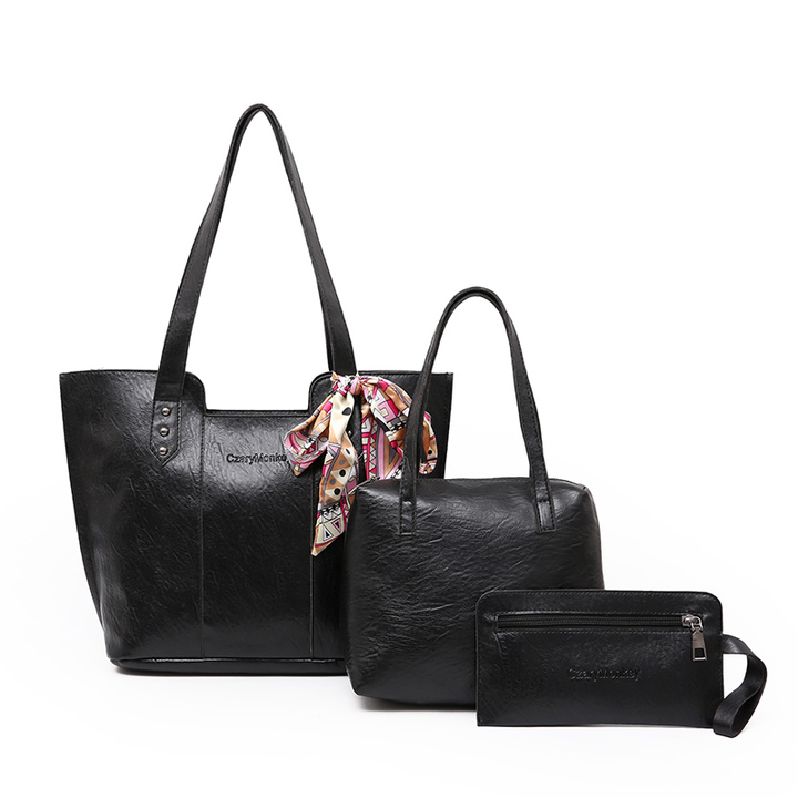 LARAINE Brand PU Leather Women Handbags Shoulder Bags black 38cm by 12cm by 27cm