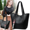 Handbags for Ladies PU Leather  Large Capacity Handbags for Women black 25cm by 10cm by 27cm