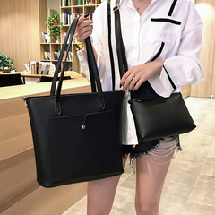 2Pcs/Set Large Capacity Handbags for Ladies PU Leather  Bags for Women black 37cm by 12cm by 30cm
