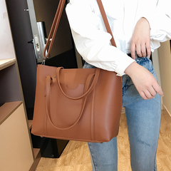 Handbags for ladies PU Leather Shoulder Bags High-capacity brown 39cm by 13cm by 27cm