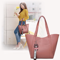 Handbags for Ladies PU Leather  Large Capacity Handbags for Women pink 25cm by 10cm by 27cm
