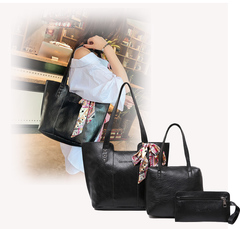 3Pcs/Sets Women Handbags PU Leather Shoulder Bags black 38cm by 12cm by 27cm