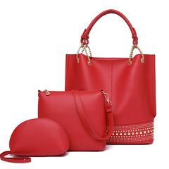 LARAINE Brand PU Leather Handbag for Women Shoulder Bag red one size