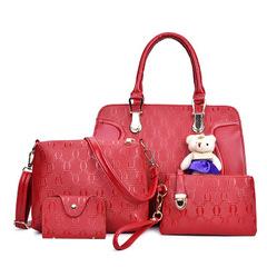 4Pcs/Set High-quality Handbags for Women Summer Commuter Shopping Bag red one size