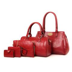 5Pcs/Sets Women Handbags Leather Shoulder Bags red one size