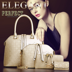 4Pcs/Set High-quality Handbags for Ladies PU Leather golden one size