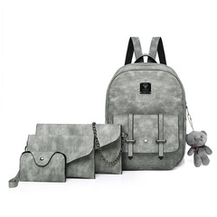 4PcsSet Backpack College Students's Choolbags PU Leather gray one size