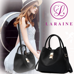 LARAINE Fashion Handbags for Ladies PU Leather High Quality Handbags for Women black 29cm by 13cm by 23cm