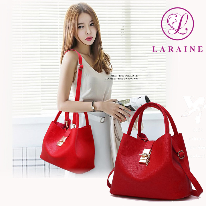 LARAINE Fashion Handbags for Ladies PU Leather High Quality Handbags for Women red 29cm by 13cm by 23cm