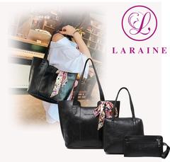 LARAINE 3Pcs/Sets Women Handbags PU Leather Shoulder Bags black 38cm by 12cm by 27cm