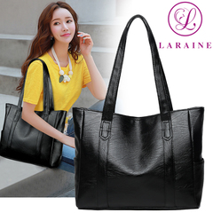 LARAINE Brand Commuter Handbag for Ladies Large Capacity Shoulder Bags PU Leather black 34cm by 12cm by 29cm