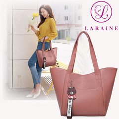 LARAINE Handbags for Ladies PU Leather  Large Capacity Handbags for Women pink 25cm by 10cm by 27cm
