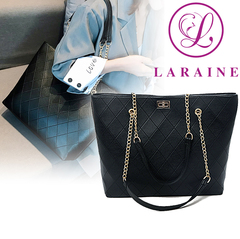 LARAINE New Large Capacity PU Leather Chain Shoulder Belt Zipper Women's Handbags black 45cm by 12cm by 30cm