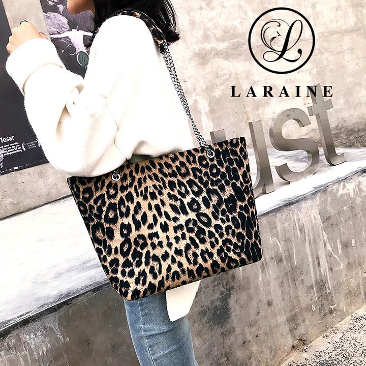 LARAINE Leopard pattern tote bag PU Leather shoulder bag Handbags for Ladies Leopard Print 40cm by 12cm by 26cm