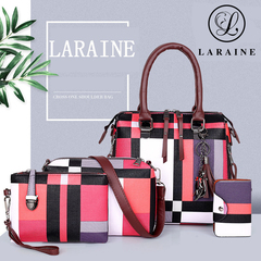 LARAINE Handbags for Ladies PU Leather  Lattice Pattern red one size