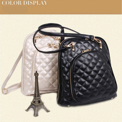 LARAINE Backpacks for Ladier PU Leather Rhombic Pattern black one size