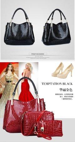 LARAINE 3Pcs/Sets Women Handbags for Ladies PU Leather red one size