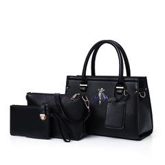 LARAINE 3Pcs/Sets Women Handbags for Ladies PU Leather black one size