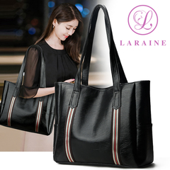 LARAINE Brand Commuter Handbag for Ladies Large Capacity Shoulder Bags PU Leather stripe 34cm by 12cm by 29cm