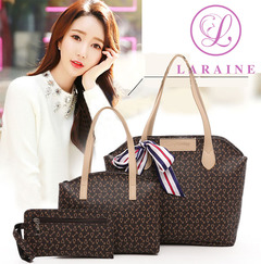 LARAINE 3Pcs/Sets Women Handbags Leather Shoulder Bags brown 38cm by 10cm by 26cm