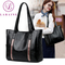 LARAINE Brand Commuter Handbag for Ladies Large Capacity Shoulder Bags PU Leather Stripe splicing 34cm by 12cm by 29cm