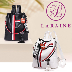 LARAINE Backpacks for Ladies PU Leather Portable Waterproof white one size
