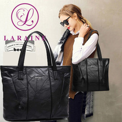 LARAINE Brand Tote Leather  Big Handbags for Ladies Shoulder Bags black one size