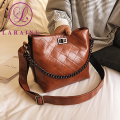 LARAINE Rhombus Pattern Lady's Single Shoulder Bag Retro PU Leather Mailman's Handbag brown 20.5cm by 12.5cm by 20cm