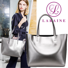 LARAINE Brand Cow Leather Handbags for Ladies Large Bag Shoulder Bags silvery one size