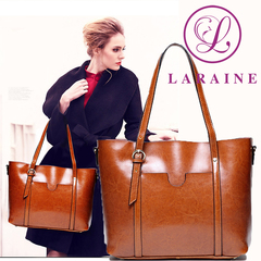 LARAINE Brand Cow Leather Handbags for Ladies Tote Single Shoulder Bags brown one size