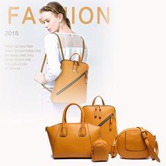 LARAINE 4Pcs/Set High-quality Backpacks for Ladies PU Leather yello one size