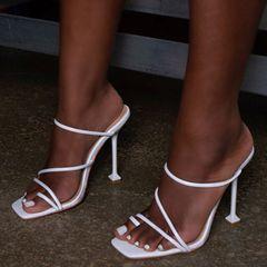 White print strappy mule heels sandals slippers women high heels flip flops white 38