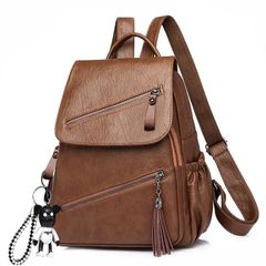 Backpack fashion soft leather women's backpack women's large capacity schoolbag Backpacks & Bookbags brown one size